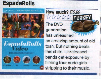 Tacky Not Very Original  music videos by EspadaRolls. No 1 of 17 Tacky musivc video DVD collections. Contains nudity. 18 Certificate. 60 mins. 20 songs in DVD Pack.